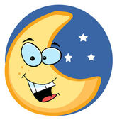 Cartoon Illustrations Of Smiling Moon — Stock Photo