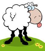 Cartoon Sheep Sticking Out His Tongue — Stock Photo