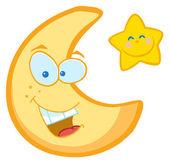 Měsíc a hvězdy kreslenými postavičkami — Stock fotografie