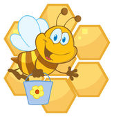 Cute Bee Waving And Carrying A Bucket Over Honeycombs — Stock Photo