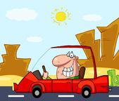 Man köra sin röda bil på en öde väg — Stockfoto