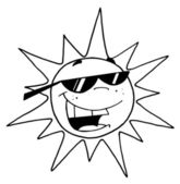 Outline Of A Cool Sun Character — Stock Photo