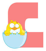 Letter C With A Chick — Stock Photo