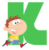 Letter K With A Kid — Stockfoto