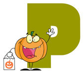 Letter P With A Pumpkin — Stock Photo