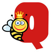 Letter Q With A Queen Bee — Stock Photo