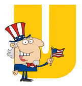 Letter U With Uncle Sam — Stock Photo