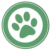 Green Dog Paw Print — Stock Photo