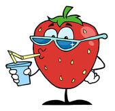 イチゴ漫画文字ジュース飲み物 — ストック写真