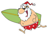 Cartoon Santa Surfer — Stock Photo