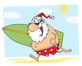 Santa Running On A Beach With A Surfboard — Stock Photo