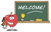 学校苹果铃铛的欢迎粉笔板 — 图库照片