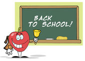 Apple Ringing A Bell By A Back To School Chalk Board — Stock Photo