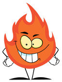 Evil Grinning Flame Character — Stock Photo
