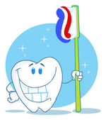 Happy Smiling Tooth With Toothbrush — Stock Photo