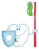 Smiling Tooth With Toothbrush And Shield — Stock Photo