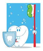 Znak ząb z Tarcza i szczoteczka do zębów czerwony — Zdjęcie stockowe