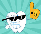 Smiling Tooth Cartoon Mascot Character Number One — Stock Photo