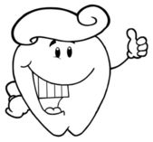 Outlined Tooth Cartoon Character With Toothpaste — Stock Photo