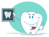 Tooth Character Holding Up A Dental X Ray — Stock Photo