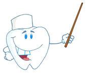 牙字符护士持指针棒 — 图库照片
