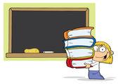 Blond school meisje uitvoering boeken — Stockfoto