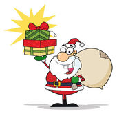 Christmas Santa Holding Up A Stack Of Gifts — Stock Photo