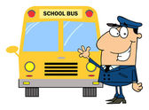 Driver In Front of School Bus — Stock Photo
