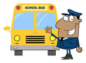 African American Driver In Front of School Bus — Foto Stock