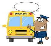 African American Driver Waving In Front of School Bus — Stock Photo
