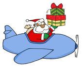 Bir uçağı ve hediye kutuları tutarak siyah noel baba — Stok fotoğraf