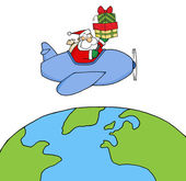 Santa Claus Holding Up A Stack Flying Around Earth — Stock Photo