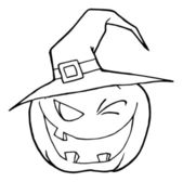 Jack O Lantern Wearing A Witch Hat Winking — Stock Photo