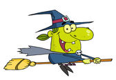 Wicked Halloween Witch Flying — Stock Photo