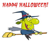 Wicked Halloween Witch Flying With Text Happy Halloween — Stockfoto