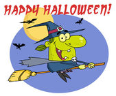 Wicked Halloween Witch Flying With Text — Stock Photo