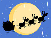 Silhouette Of Santa And A Reindeers Flying In Moon — Stock Photo