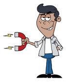Młody człowiek hiszpanin posiadających silny magnes — Zdjęcie stockowe