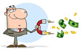 Businessman Using A Magnet To Attracts Money — Stock Photo