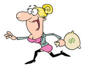 Happy Blond Woman Running With A Money Bag — Stockfoto
