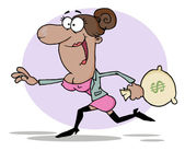 Business Woman Running With The Money Bag — Stock Photo