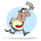 Businessman Running With Dollar In Hand — Stock Photo