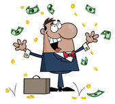 Successful Businessman Standing Under Falling Money — Stock Photo