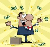 Black Businessman Standing Under Falling Money — Stock Photo