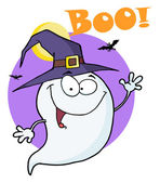 Happy Halloween Ghost Flying In Night And Text Boo! — Stock Photo