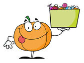 Happy Pumpkin Character Holding Up A Tub Of Candy — Stock Photo