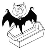Outlined Happy Vampire Out Of The Coffin — Stock Photo