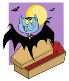 Vampire Bat Hovering Above A Coffin Against A Full Moon — Stockfoto