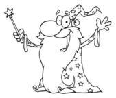 Outlined Wizard Waving And Cape Holding A Magic Wand — Stock Photo
