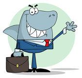 Business Shark Waving A Greeting — Stock Photo
